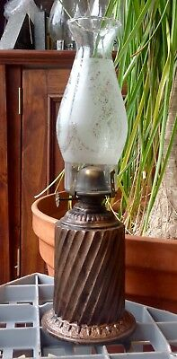 Lovely Little Twist Pattern Bedside Kerosene / Oil Lamp