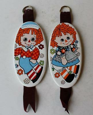 Set of 2 Enesco Raggedy Ann-Andy Vintage Ceramic-Porcelain Wall Plaques Japan
