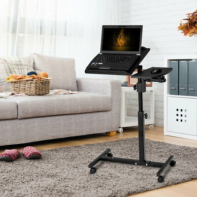 Adjustable Laptop Desk Portable Notebook Computer Table Stand Black W/ Wheels