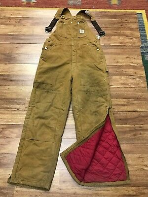 MENS 36 x 31 - Vtg Carhartt R02 Duck Quilted Insulated Work Overall Bib MADE USA