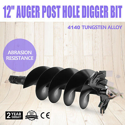 """12"""" Auger Post Hole Digger Hex Bit Skid Steer Attachment Manganese+Steel Alloy"""