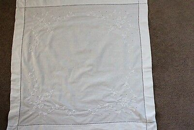 Vintage small square white cotton table cloth with white embroidery.
