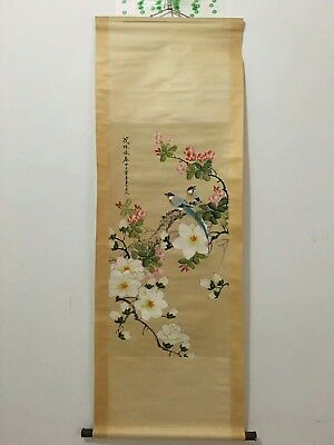 """Republic of China Hanging Scroll Painting""""Flowe Bird""""Famous Painter Chen Banding"""
