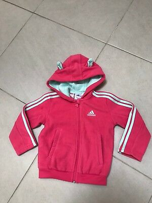 Girls ADIDAS Pink Hoodie Jumper. Size US 2T. Preloved. Suits 18-24 Month Olds