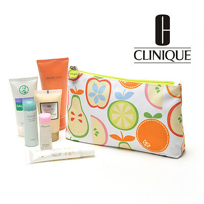 CLINIQUE Makeup Cosmetics Bag decorated with Fruits Pattern, Brand NEW!!