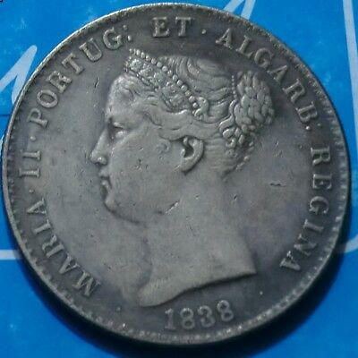 PORTUGAL 1838-1000-REIS MARIA II OLD SILVER IMPERIAL COIN Empire