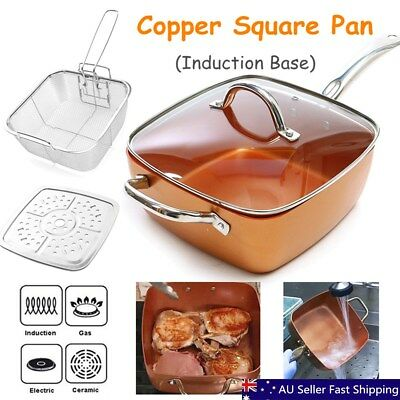 4pcs Nonstick Copper Square Pan Induction Chef Glass Lid Fry Basket Steam Rack