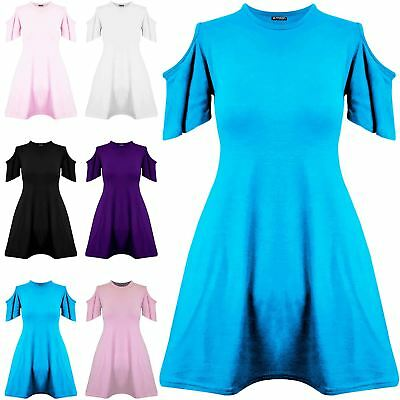 Childrens Girls Cold Cut Out Shoulder Short Sleeve Flared Swing Kids Mini Dress