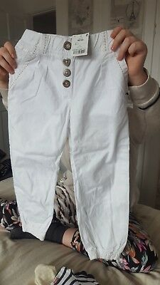 Next Girls White Trousers, Age 4-5 Yrs, In Exc Cond
