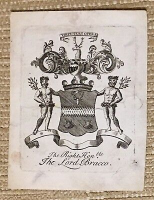 Antique Ex Libris Bookplate for THE RIGHT HONOURABLE THE LORD BRACCO Scotland