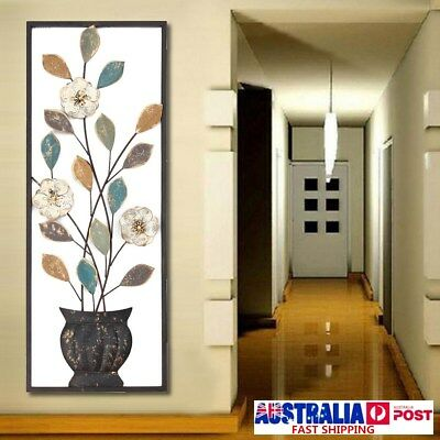 Large Iron Metal Colorful Leaves Wall Art Framed Panel Sculpture Home Door Decor