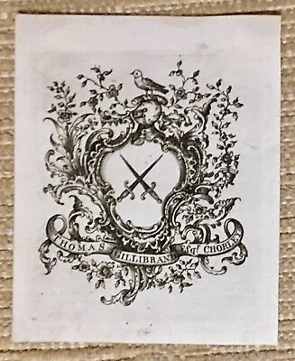 Antique Ex Libris Bookplate Chippendale Style  THOMAS GILLIBRAND ESQR CHORLEY
