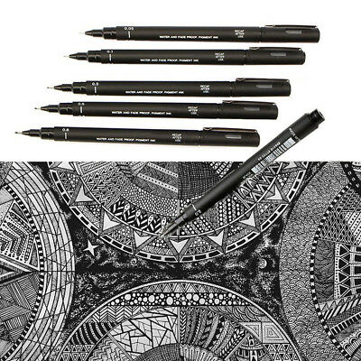 Set of 5 Uni Ball Pin Pigment  Fineliner Drawing Pen Black Archival Ink