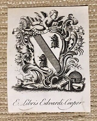 Antique Ex Libris Bookplate Chippendale Style for EDVARDI COOPER