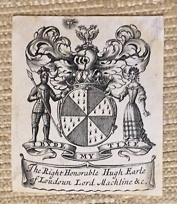 Antique Ex Libris Bookplate For THE RIGHT HONORABLE HUGH EARLE OF LOUDOUN
