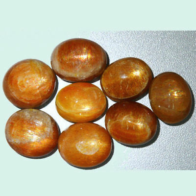 53.800 Cts 100% NATURAL UNTREATED UNHEATED GOLDEN RED SUNSTONE STAR ( 8-Pcs )
