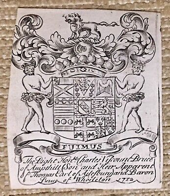 Antique Ex Libris Bookplate THE RIGHT HON CHARLES VISCOUNT BRUCE OF AMPTHL 1712
