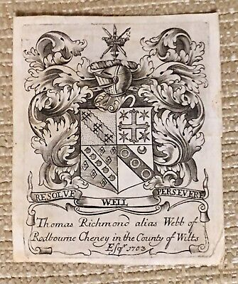 Antique Ex Libris Bookplate THOMAS RICHMOND alias WEBB OF RODBOURNE CHENEY 1703