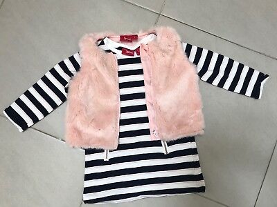 Girls SPROUT Striped Dress And Pink Fluffy Vest Set. Size 2. Worn Once.