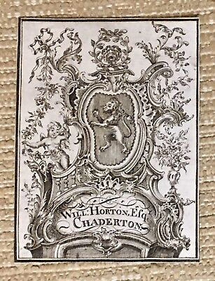 Antique Ex Libris Bookplate Chippendale Style For WILL HORTON ESQ CHADERTON