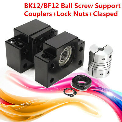 BK12/BF12 Ball Screw Support Couplers Lock Nuts Clasped Set For Ballscrew 1605