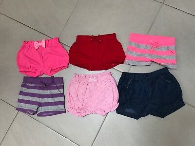 6 x Girls Shorts Bundle. Size 1. Various Brands. Preloved But Good Condition.