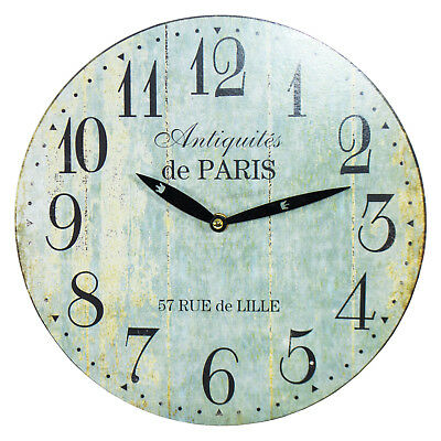 Rustic Turquoise 29cm Wooden Wall Clock Large Kitchen Shabby Chic Decor Quartz