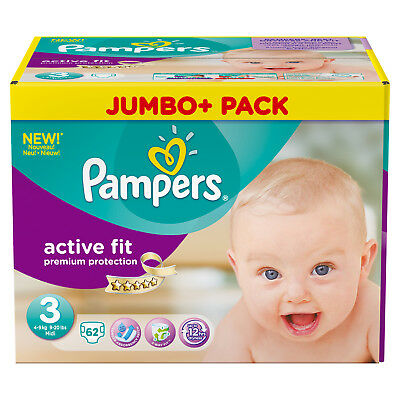 Pack 62 couches Pampers Active Fit