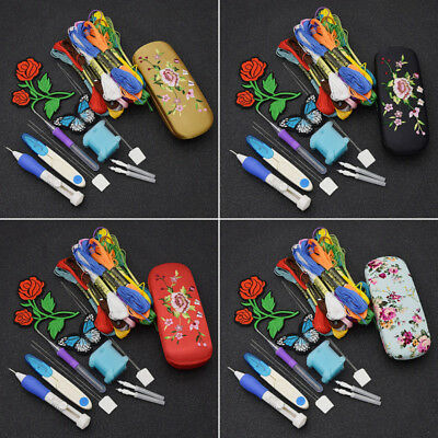 Retro Embroidery Set Rose DIY Sewing Traditional Craft Tool Punch Thread Needles