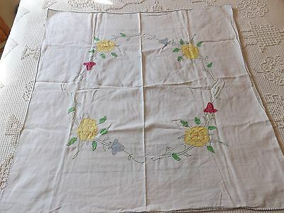VINTAGE HAND STITCHED Floral Tablecloth Cottage French Country Shabby Victorian