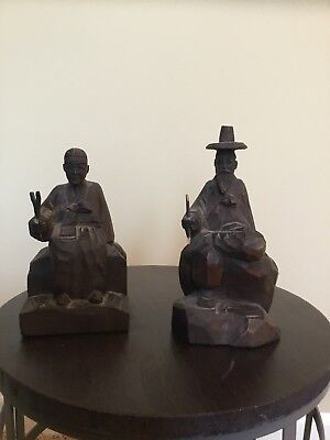 A Pair Of Vintage Hand Carved Wooden Figures Korea Signed
