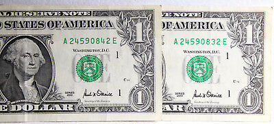 2 X US One Dollar  2001 Note