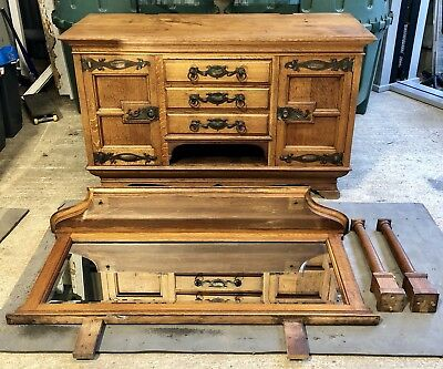 Solid Oak Victorian/edwardian Sideboard Antique Furniture Hardwood Cabinet 1920