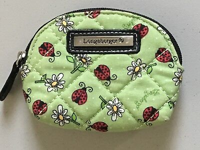 Longaberger Ladybugs & Daisies Green Coin Purse