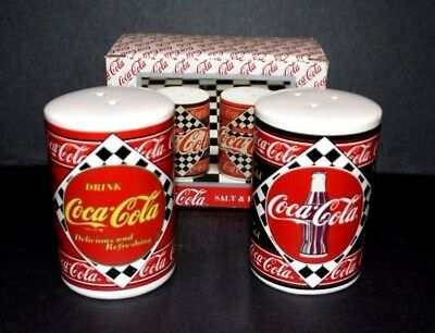 Coca Cola Cans Salt and Pepper Shaker NEW in box Enesco 1995