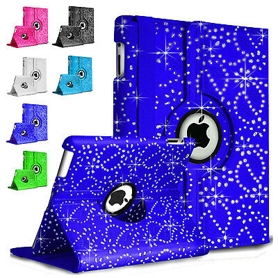 New Bling Sparkly Diamond Rotate Leather Case For Apple iPad Air 1/2 Mini 2/3/4