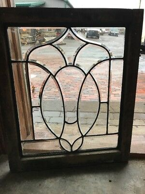 SG 1976 Antique All Beveled Glass Landing Window 24 Wide By 29 Hi