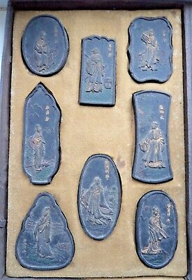 SET CHINESE INK CAKES CALLIGRAPHY - ANTIQUE c1880 IDOL SCENES & INSCRIPTIONS