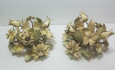 Vintage Tole Ware Italian Candle Holders Metal  Shabby Chic
