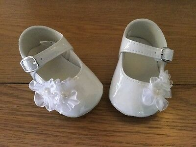 Baby Girls Formal Christening Soft Patent Pram Shoes White 0 - 3, 3 - 6 Months