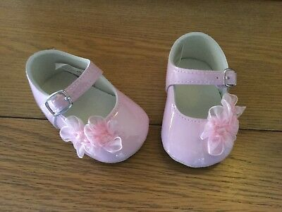 Baby Girls Formal Christening Soft Patent Pram Shoes Pink 0 - 3, 3 - 6 Months