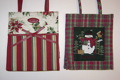 Lot Of 2 Longaberger Christmas Holiday Poinsettia & Snowman Fabric Tote Gift Bag