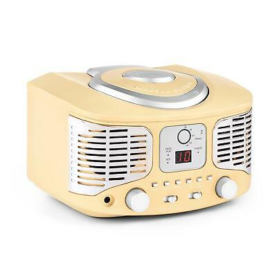 (B-Ware) Cd Player Ukw Fm Radio Retro Design Aux Mp3 Spieler Tragbar Batteriebet