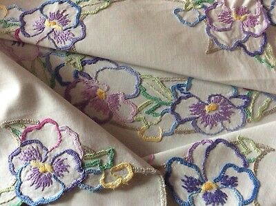 Beautiful Vintage Hand Embroidered Tablecloth ~ Lovely Pansies