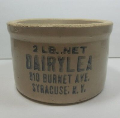 Dairylea Syracuse N.Y. 2 LB Stoneware Butter Or Cottage Cheese Crock