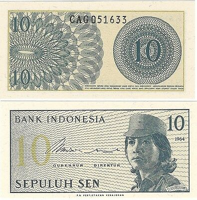 Indonesia 10 Sen 1964 P-92a NEW UNC Uncirculated Banknote