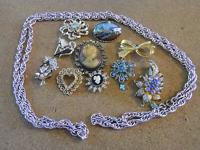 Lot of Mixed Jewelry RINGS, PINS, COPPER LINK NECKLACE, VINTAGE BIG LOT