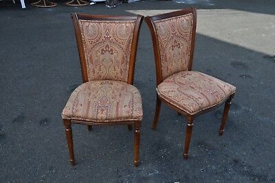 Pair Of Italian Made Side Chairs With Paisley Fabric