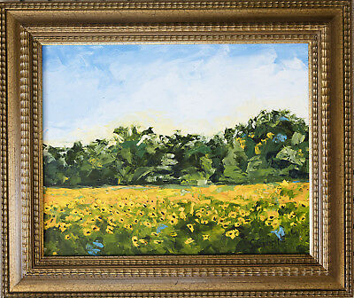 Oil Painting - 20X16 on Canvas Scenic Yellow Flower Scene - Impressionism