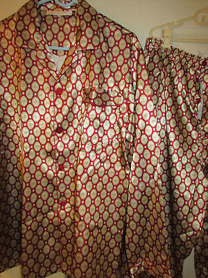 Vtg NOS? Satin Radiadic men's pajama lounge wear smoking jacket pants XXL 2XL